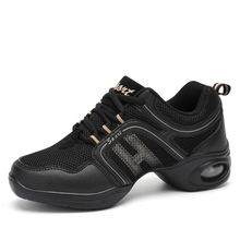 Jazz Sneaker Black Shoes Woman Breathable Dance Leather Stitching Fitness Trainers Practice Dancing Sport Modern Shoe