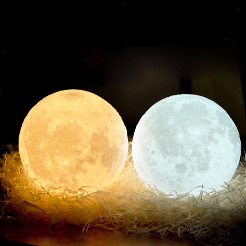 3D Print Moon Lamp  AAA Battery Powered 2 Color Change Button Switch Bedroom Bookcase Night Light Home Decor Creative Gift
