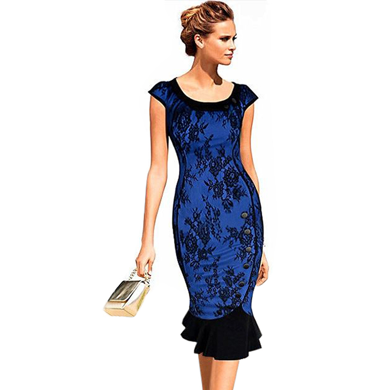 Buy Cheap Oxiuly 2015 New Women Vintage Classic Blue Lace Patchwork Puff Sleeve Peter Pan Collar Button Slimming Party Mermaid Dress S-XXL
