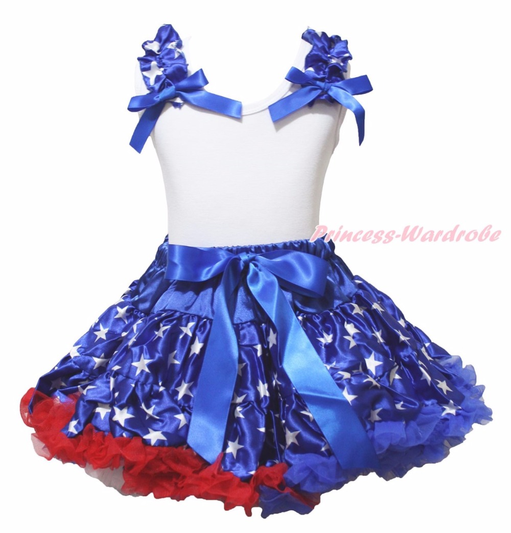 4th July Star 1st Heart America Stars Dog Minnie Bling Apple Plain White Top Girl Blue Stars Satin Bow Skirt Outfit Set 1-8Year 4th july america usa heart girls royal blue top bling sequins baby skirt 3 12m