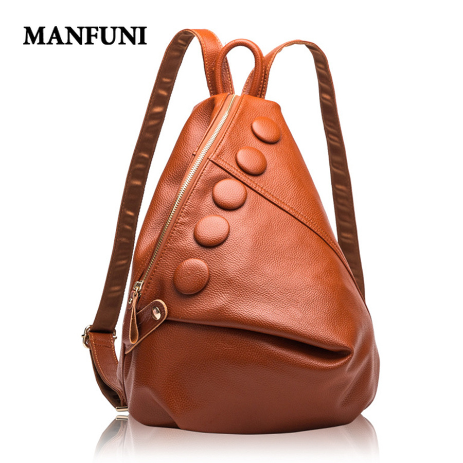 MANFUNI Genuine Leather Backpacks Women Designer Leather Bags Ladies Brand Luxury Backpack Woman High Capacity Bolsa