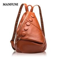 MANFUNI Genuine Leather Backpacks Women Designer Leather Bags Ladies Brand Luxury Backpack Woman High Capacity Bolsa Feminina