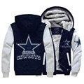 Hot New Estados Unidos Dallas Logotipo JiaRong Inverno Dos Homens do Velo Camisolas Polares Com Capuz Jaqueta Com Zíper Frete Grátis
