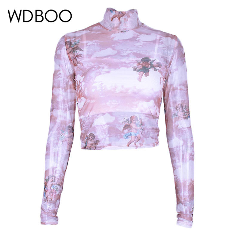 WDBOO High Neck Cherub Print Pink Top Women See Through Long Sleeve Mesh T Shirt Angel Cupid Crop Top 90s Casual Sheer Tees see through angel shirt