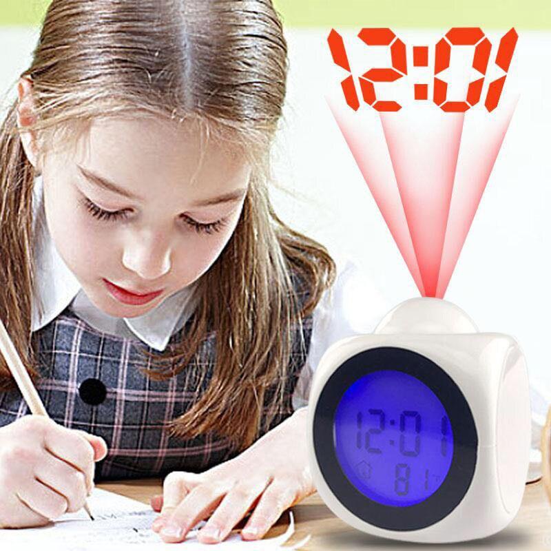 LCD Falando Despertador Projeção LEVOU Tempo de Exibição Digital de Voz Prompt de Função Do Sensor De Temperatura Desk Snooze Alarm Clock