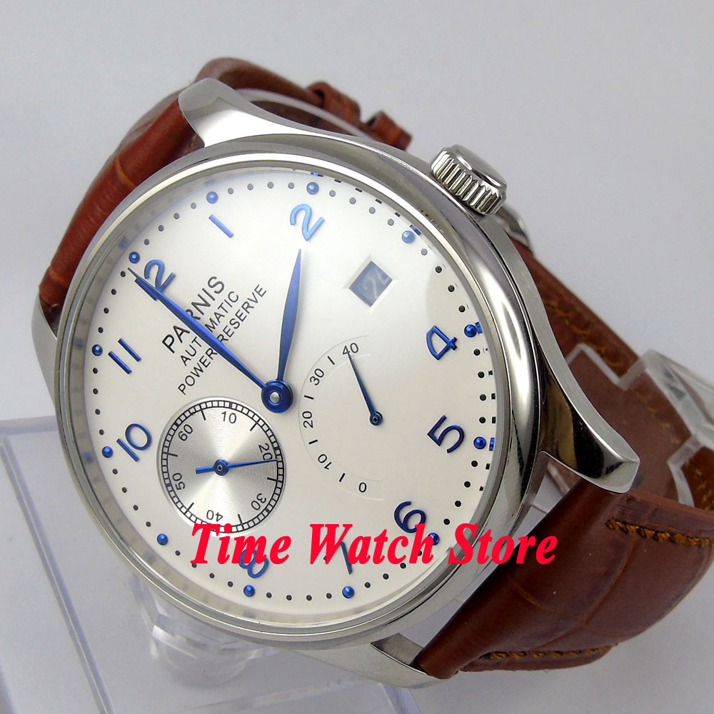 Parnis 43mm White dial blue hands date power reserve 2530 Automatic movement Men s watch 128