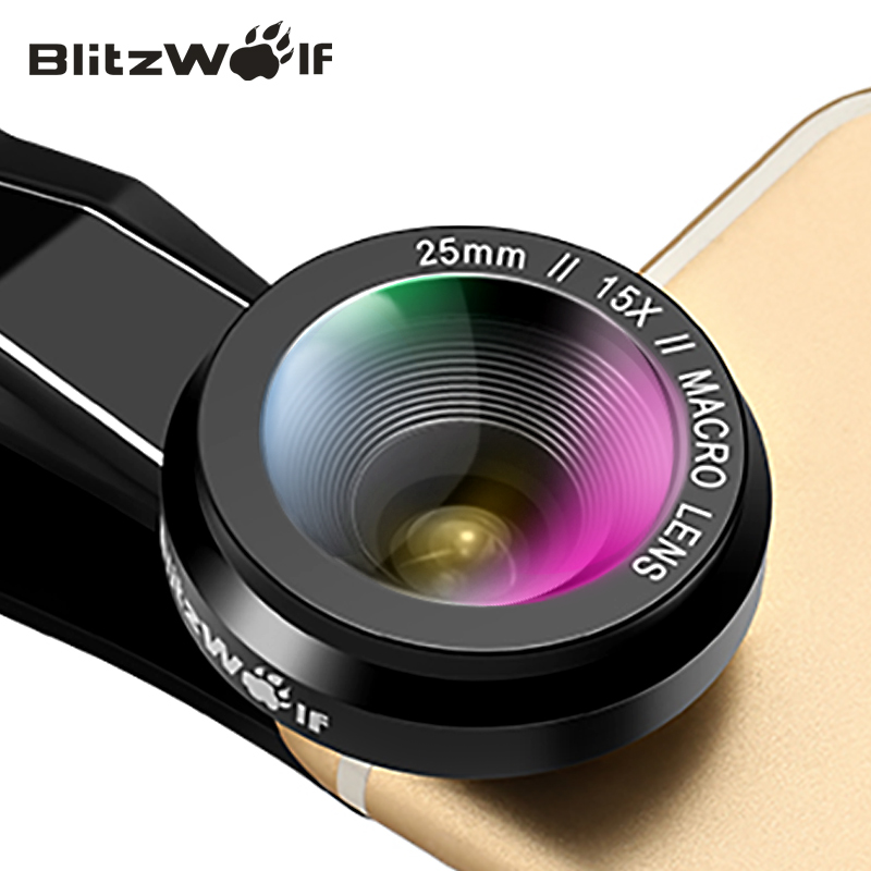imágenes para BlitzWolf Cámara Lente Óptico 15X Lente Macro 25mm Microscopio Photography Kit Lente Clip Universal Del Teléfono Móvil Para Smartphone