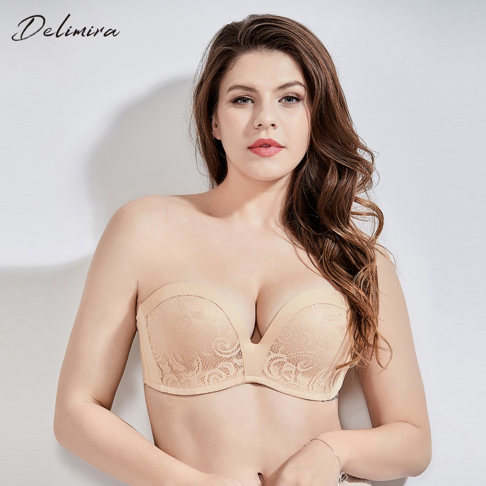 3e749597682db Delimira Women s Slightly Padded Push Up Lace Great Support Strapless Bra