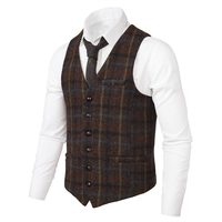 VOBOOM Twill Waistcoat Men Suit Vest Woolen Tweed Windowpane Male Classic Fit Vests Wedding Business Casual Fits 008