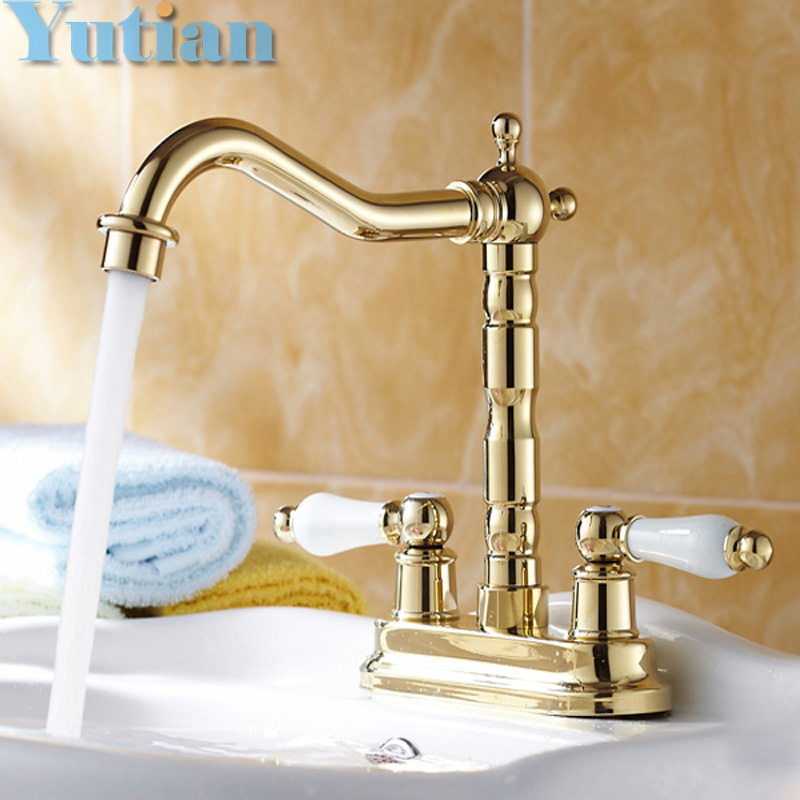 ФОТО Free shipping Gold color bathroom basin faucet brass Dual handle tap hot and cold mixer banheiro torneira vanity tap YT-5067