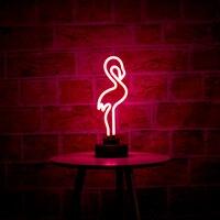 Flamingo CHIBUY Retro Escultura de Néon Tubo de Vidro Real Neon lâmpada de Sinal 12 V DC Flamingo Neon Neon Light Entre Artesanais decoração