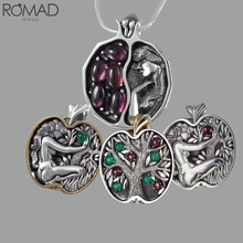 ROMAD Vintage crystal necklace women life tree hollow engraved retro green gem stone garnet pendant Collier R5