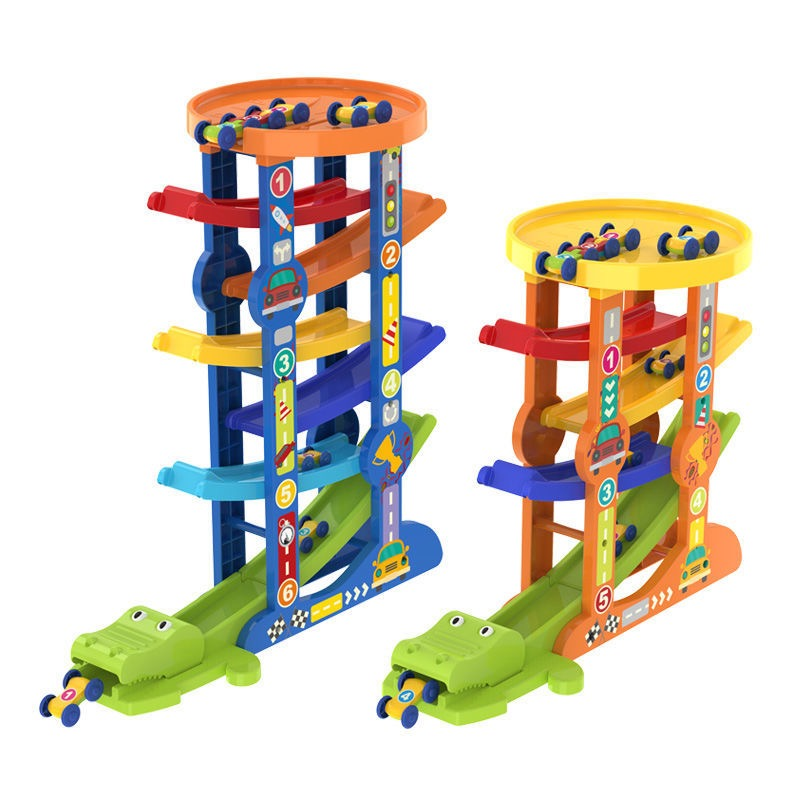 7-Layer Ramp Race Track & 6 Mini Inertia Car Sliding Toys Baby Toddler Motor Skill Developmental Toys Kids Children Gifts