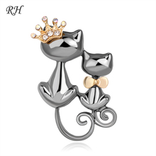 Vintage Metal Crystal Couple Queen Cat Brooch For Women Mom Collar Pins Corsage Double Animal Brooch Badges Jewelry Accessories blucome shining big green flowers brooches for women vintage crystal brooch corsage women sweater hats scarf suit jewelry pins