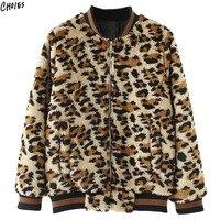 מפציץ חום Leopard פו פרווה נשים חורף מעיל מעיל בייסבול שרוול ארוך צוואר כיסי שפתוחה Zip עד להאריך ימים יותר חדש חם