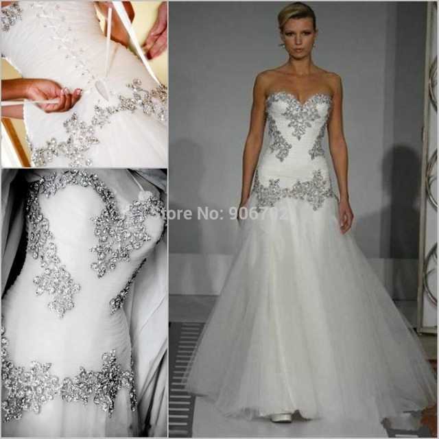 New styleWholesale - 2015 Wedding Dresses Pnina Tornai A-Line Sweetheart  Bling Bling with Tulle Beaded Lace Up at Back Chapel Tr 8dd3c931e5bf
