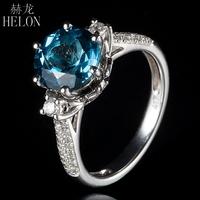 HELON 9mm Round 2.6ct London Blue Topaz Ring Solid 14K White Gold 0.4ct Diamonds Engagement Ring Women Wedding Exquisite Jewelry