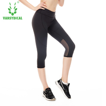 Sport Breathable Women Summer Lace Skinny Stretch Cropped Leggings Trousers Capris Pants 3/4 Leggings gym fitness yoga tights