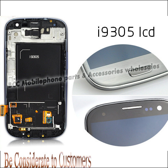 Original LCD Display+Touch Screen Digitizer Panel+Frame Assembly for Samsung  SIII S3 GT-i9305 i9305 White/Blue/Black/Grey