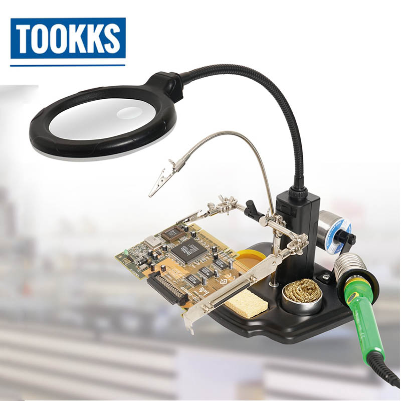 ProsKit SN-396 Magnifying Glass LED lights Magnifier with Soldering Iron Stander Clamp Alligator For BGA  for Soldering  RepairProsKit SN-396 Magnifying Glass LED lights Magnifier with Soldering Iron Stander Clamp Alligator For BGA  for Soldering  Repair