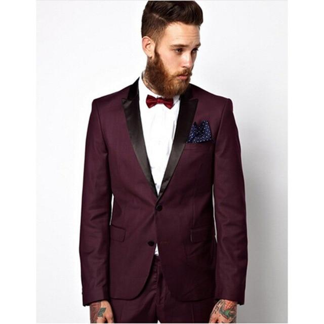 High Quality Black Lapel Mens Suits Burgundy Groom Tuxedos Wedding