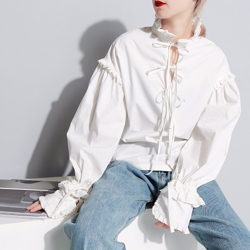 Invierno Blanco Completa Z059 Mujeres Mujer La Arco Blusa Nuevo Vendaje Otoño Farol Las White Retro Manga ol Encaje De Del nudo 2017 Camisa SCqExw77ZF