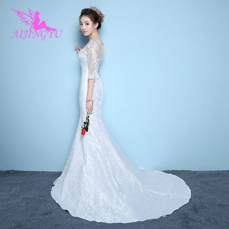 AIJINGYU 2018 Plus Size Free Shipping New Hot Selling Cheap Ball Gown Lace Up Back Formal Bride Dresses Wedding Dress WK827