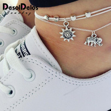 Vintage Multiple Layers Anklets for Women Elephant Sun Pendant Charms Rope Chain Beach Summer Foot Ankle Bracelet Jewelry