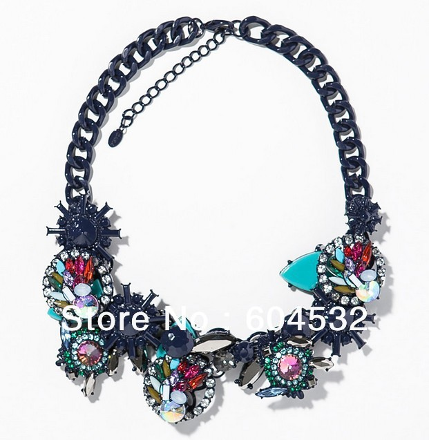 2014 Za Brand New Fashion Luxury Spring Gorgeous Multicolor Crystal Statement Necklaces & Pendants Choker Collar Chunky Chain
