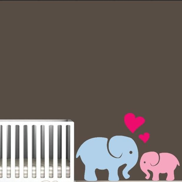 Elephant Love Decals For Nursery Custom Color Available Vinyl Wall Stikcers Kids Room Bedroom diy Art Home Decor Mural ZA856