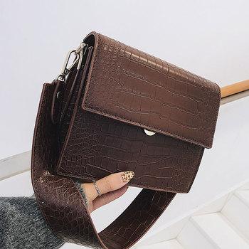 Crocodile Pattern Messenger Crossbody Bag