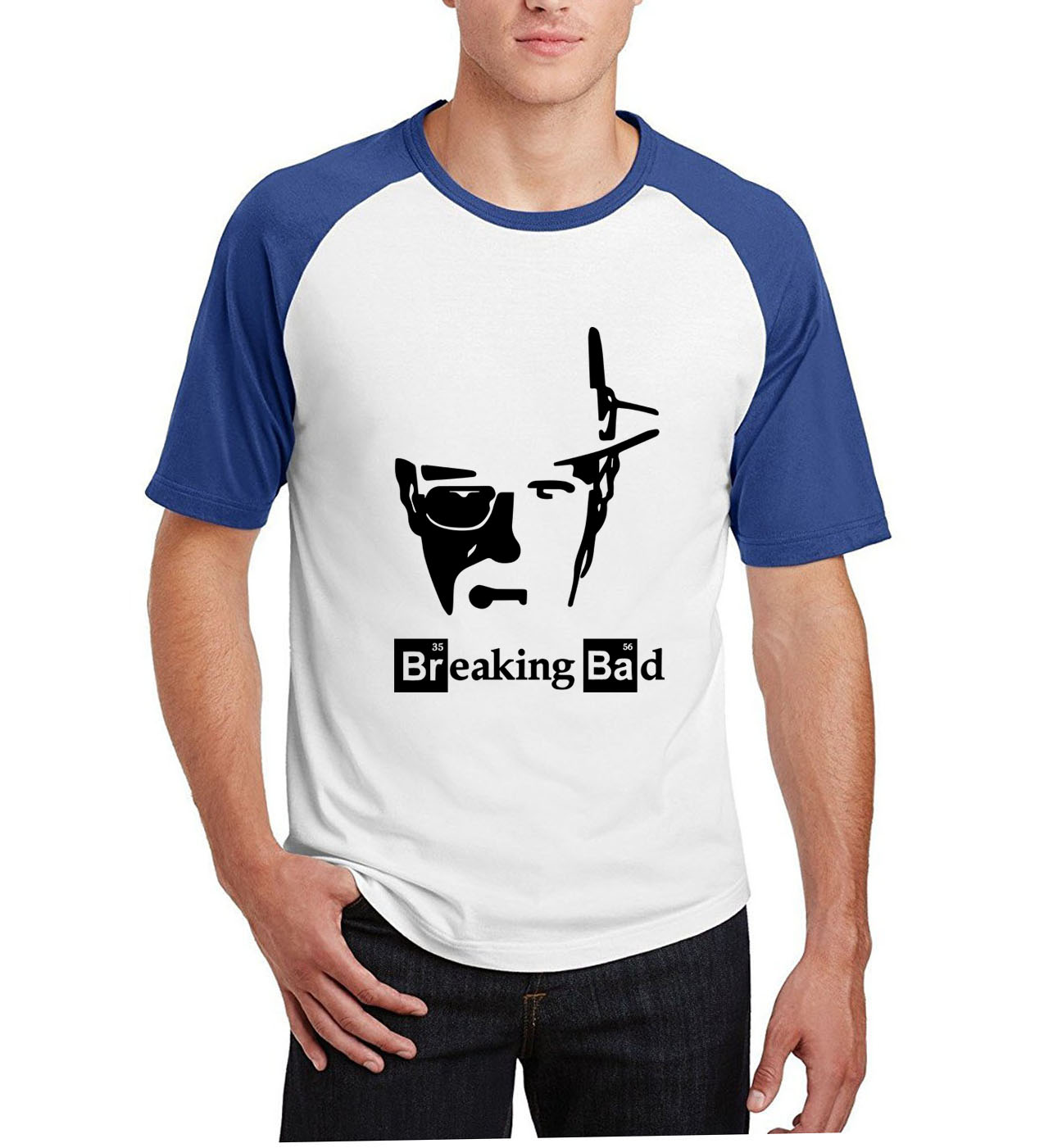 2019 summer breaking bad casual White  T Shirt I Am The One Who Knocks man's top clothing raglan short sleeve brand top men