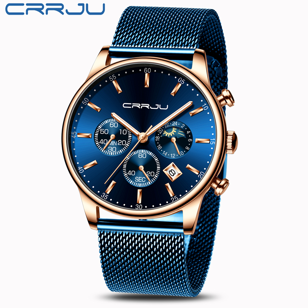Image 3 - Top Luxury Brand CRRJU Men Watch Fashion Chronograph Mesh Strap Watch Casual Blue Waterproof Sport Wristwatch with Moon Phase-in Quartz Watches from Watches