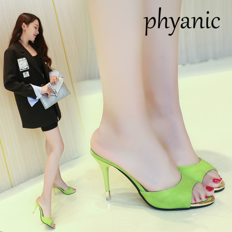 Phyanic Pink Green Fashion Female Slippers Leather Open Toe Sandals Summer Women Shoes Mules Ladies High Heeled Slides Shoes summer women leather high heeled shoes sandals rhinestone pump sandals ladies open toe slippers plus size 33 41