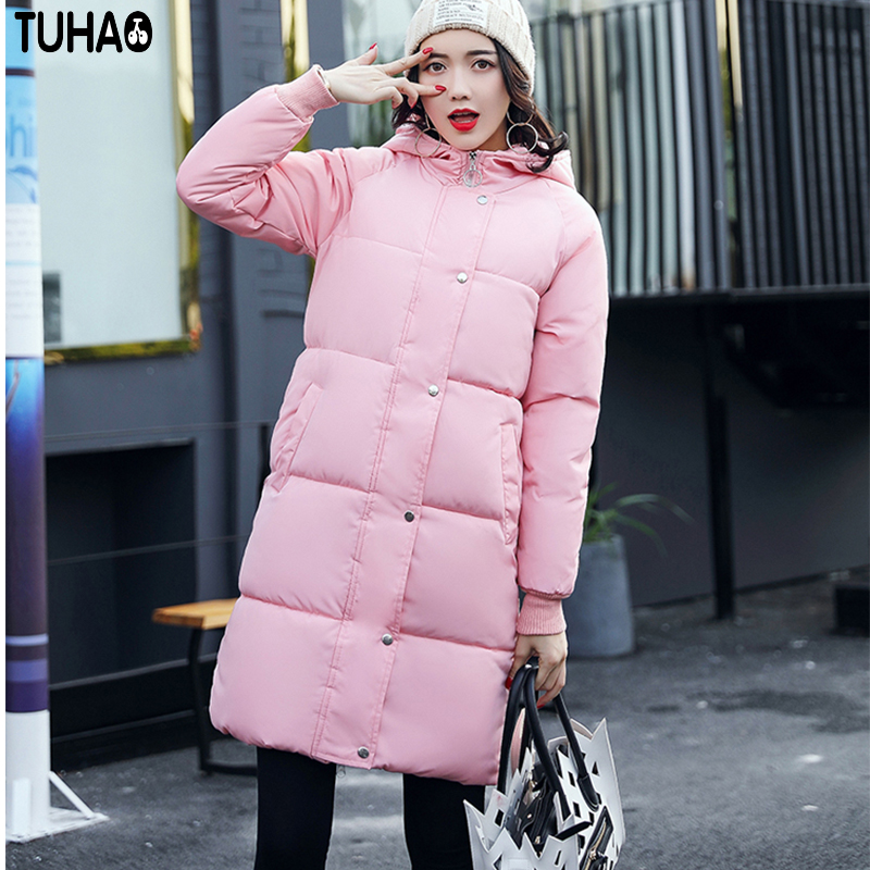 TUHAO Lady Down Cotton Pure Color Manteau Femme Hiver Thick Warm Jackets 2017 New Autumn Winter Women Hooded Long Coats LW20 tuhao lady down cotton pure color manteau femme hiver thick warm jackets 2017 new autumn winter women hooded long coats lw20