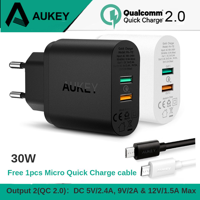 AUKEY PA-T12 30W 2 Ports Charger QC 2.0 Quick Charge USB Wall Charger Dual Port Universal Travel Fast Charging for phonesAUKEY PA-T12 30W 2 Ports Charger QC 2.0 Quick Charge USB Wall Charger Dual Port Universal Travel Fast Charging for phones