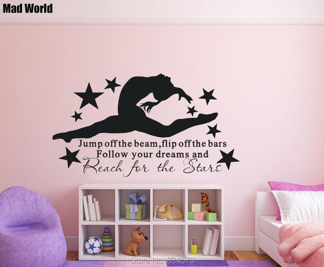 Mad wereld gymnast gymnastiek meisjes slaapkamer quote wall art