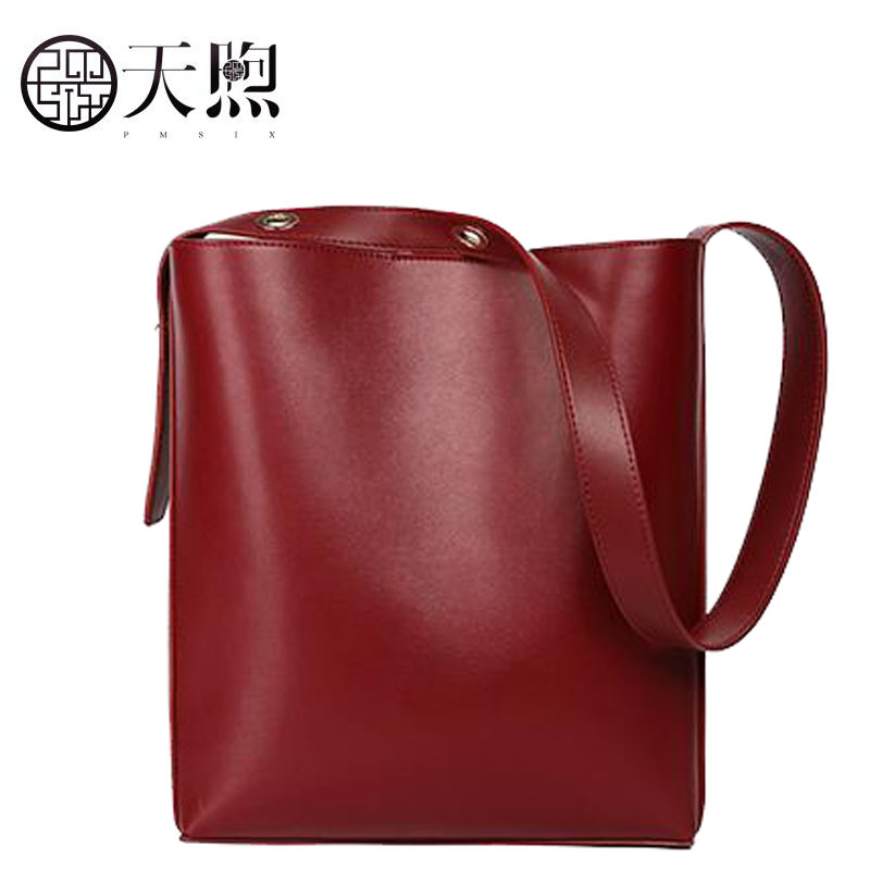 Famous brand top quality dermis women bag Pmsix Bucket bag 2018 new large-capacity leather fashion leather shoulder bag handbag famous brand top quality dermis women bag 2016 new fashion shoulder bag casual messenger bag handbag killer package