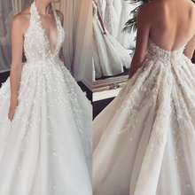 NCDIMS Sexy Halter Wedding Dress 2019 Sweep Train Backless
