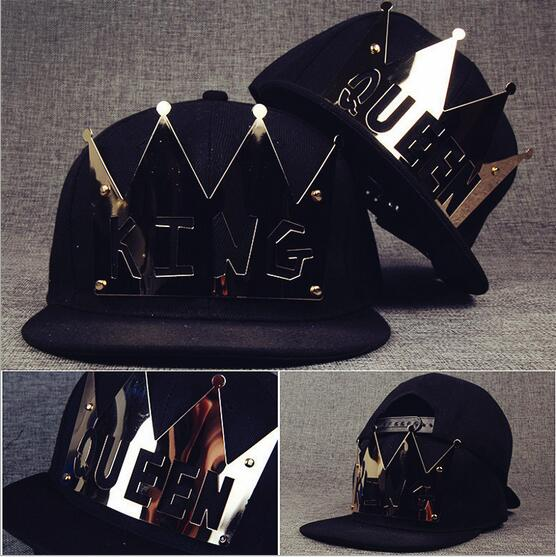 Bling Bling 2017 street fashion Plate Rivets Crown King Queen hip hop caps men women gorras bone baseball snapback lovers hat voron2017 new king queen snapback hat