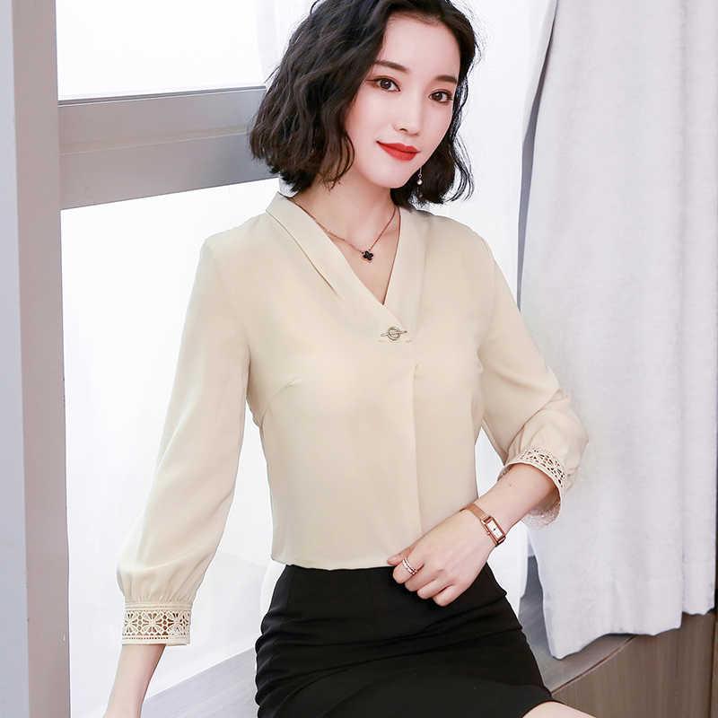 2019 Kain Sutera Tipis V Kerah Blus Wanita Patchwork Spring Wear Baru Plus Ukuran Wanita Atasan dan Blousse Wanita Blusas 1951 50