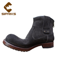 Sipriks italian handmade Goodyear welted boots men cowboy boots cow suede western boots luxury imported zipper boots european