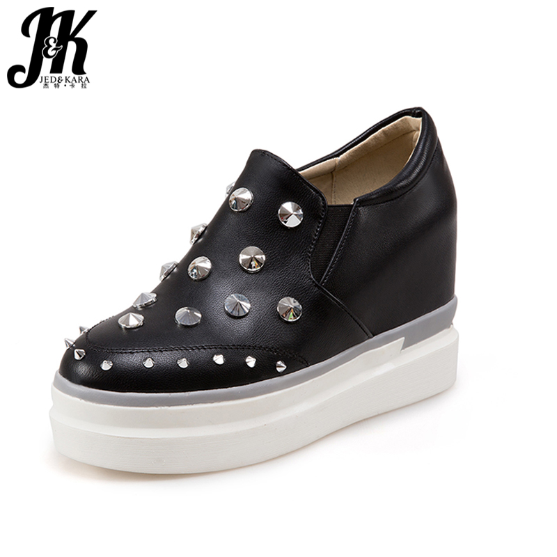 ФОТО J&K 2017 Big Size 33-43 Women Pumps Fashion Rivet Brand Women Shoes Increased Internal 5cm Shoes Woman Casual Platform Shoes