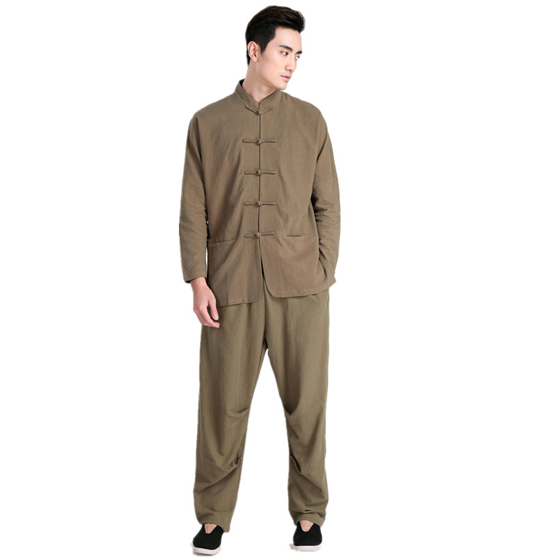 New Arrival Green Chinese Men Kung fu Uniform Cotton Tai Chi Wu Shu Suit Vintage Button