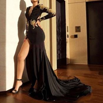 2019 New fashion sexy V Neck Mermaid Evening Dresses Long Sleeve Court Train Gold Lace Evening Dress Slit Formal Gown
