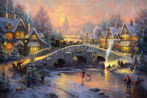 thomas kinkade christmas cottage painting print on canvas for home rh aliexpress com