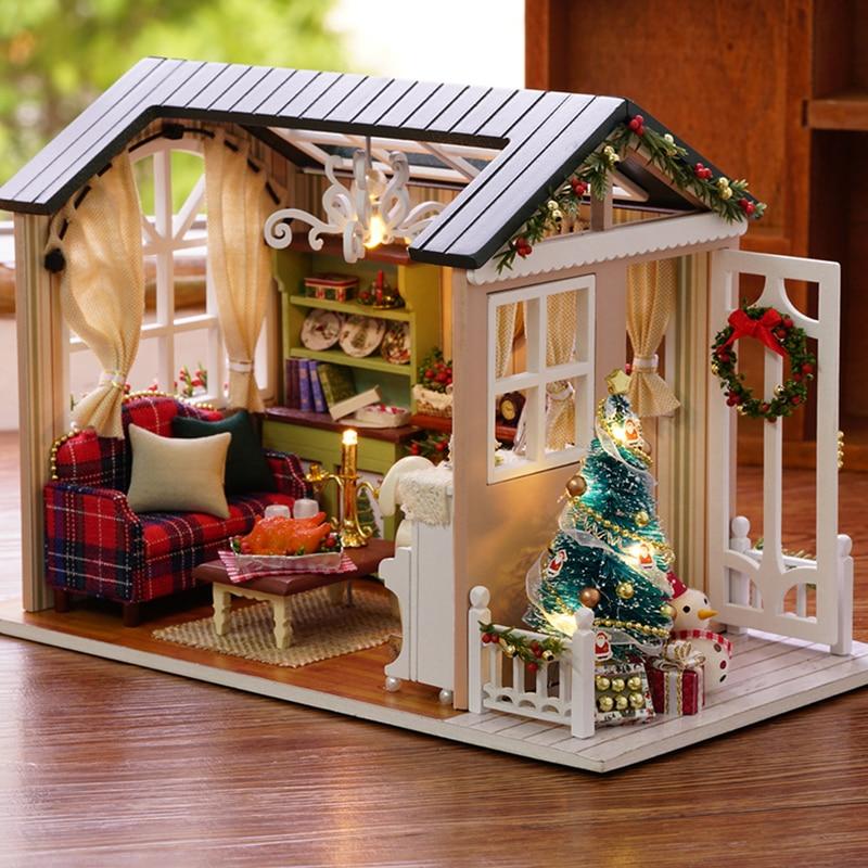 Doll House Möbler Diy Miniatyr Dammskydd 3D Wooden Miniaturas - Dockor och gosedjur - Foto 2