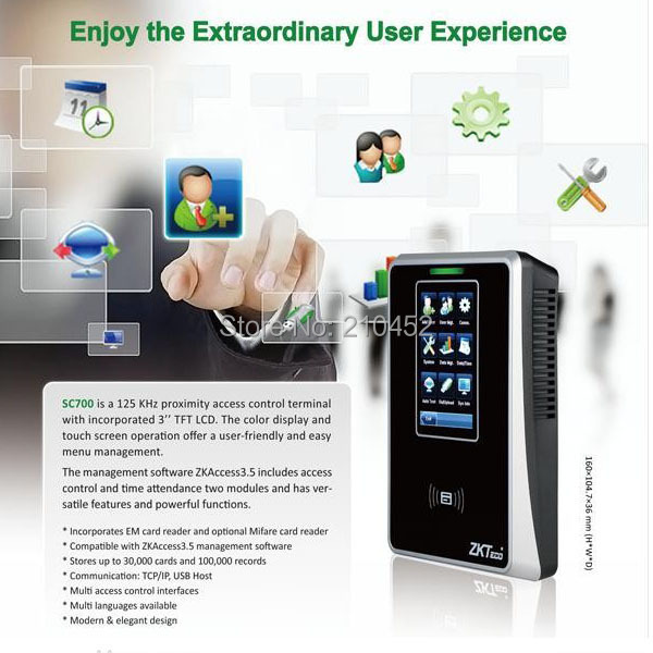 SC700 3.5 inch touch screen smart card reader RFID reader access control and time attendance