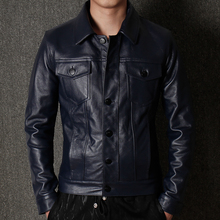 YR!Free shipping.sales.Man warm genuine leather jacket.cool blue casual cowhide coat.plus size slim business style jacket.