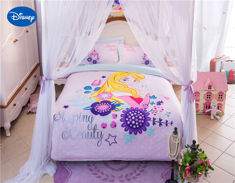 постельное белье с принцессами диснея - Pink Disney Sleeping Beauty Aurora Cartoon Printed Bedding Set for Girls Bedroom Decor Cotton Bed Duvet Cover Single Twin queen